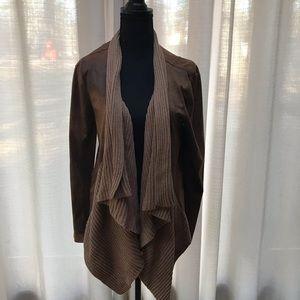 NWT Medium Faux Leather open front jacket/cardigan